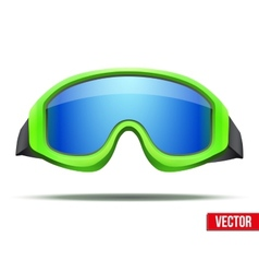Classic green snowboard ski goggles with blue vector