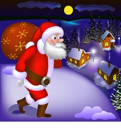 Santa claus coming with gifts vector