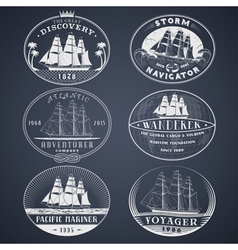 Nautical labels white vector