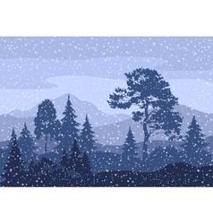Christmas winter mountain landscape vector