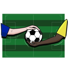 Soccer football field hand player and ball vector