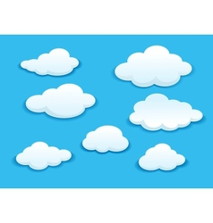White clouds set vector