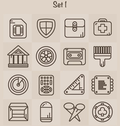 Outline icons set 1 vector