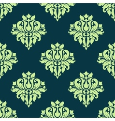 Seamless damask lush flowers pattern in green vector