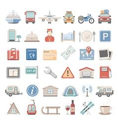 Flat icons vacation vector