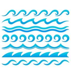 Water waves design elements set vector
