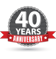 Celebrating 40 years anniversary retro label with vector