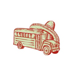 Sombrero school bus etching vector