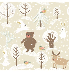Winter background with animals vector