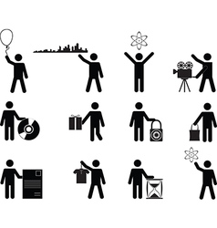 People holding stuff vector