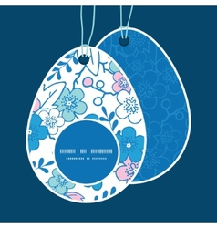 Blue and pink kimono blossoms easter egg vector