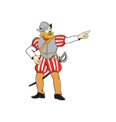 Spanish conquistador pointing isolated cartoon vector