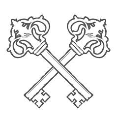 Crossed hand drawn keys design element vector