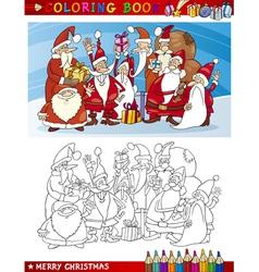 Cartoon santa claus group for coloring vector