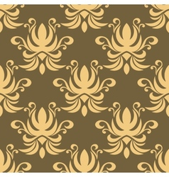 Seamless yellow curly flowers pattern vector