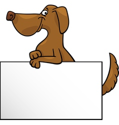 Cartoon dog with board or card design vector