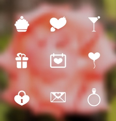 Trendy flat icons for valentines day blurred vector