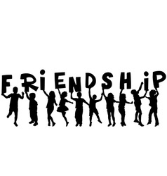Friendship concept with black sillhouettes of vector