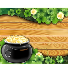 Pot of gold on wooden backgroun vector