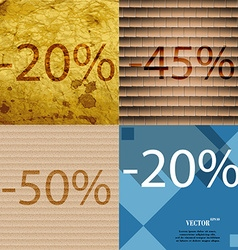 45 50 20 icon set of percent discount on abstract vector