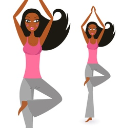 Afro - american woman in yoga standing pose vector