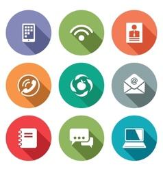 Communication flat icons set vector