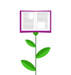Book grows like flower isolated on white ba vector