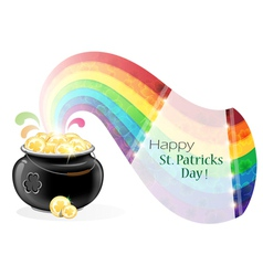 Pot with gold coins and rainbow vector