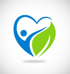 Love green leaf environment logo vector