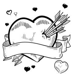 Doodle valentines heart banner vector