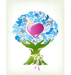 Abstract bouquet with heart vector