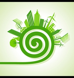 Ecology concept - eco cityscape with spiral design vector