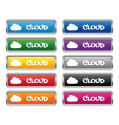 Cloud metallic rectangular buttons vector