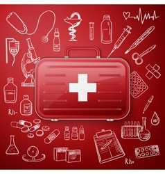 Medical chest and hand draw medicine icon vector