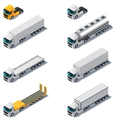 Isometric trucks with semi-trail vector