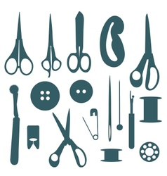 Sewing objects silhouettes set vector