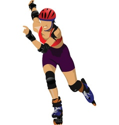 Rollerskating girl vector