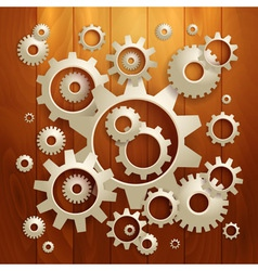 Connected realistic dimensional gear cogs silhouet vector