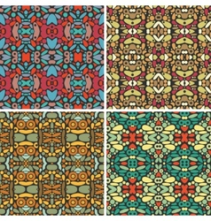 Set of seamless psychedelic ornaments vector