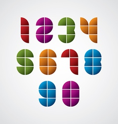 Geometric modern style numbers made with squares vector