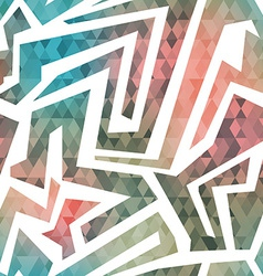 Retro maze seamless pattern with triangle vector