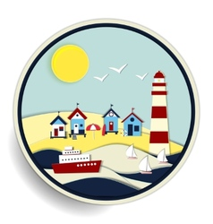 Seascape with lighthouse and ships badge vector