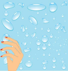 Hand and drops of water vector