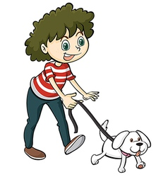 A smiling boy and a dog vector