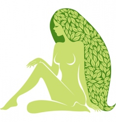 Woman with long healty hair vector