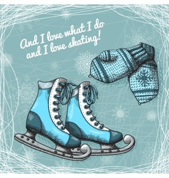 Skate and knitted wool mittens poster vector