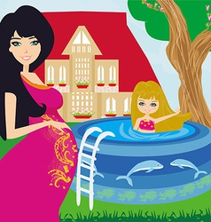 Little girl in outdoor pool and her young pregnant vector