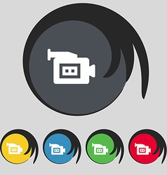 Video camera icon sign symbol on five colored vector