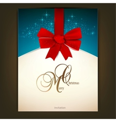 Greeting card with red bow and copy space vector
