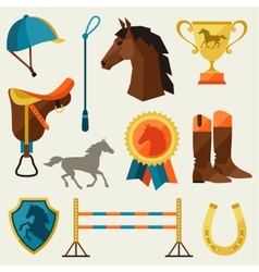 Icon set with horse equipment in flat style vector